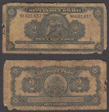 "Haiti 2 Gourdes L. 1919 (G-VG) Condition Banknote P-175 Prefix ""WA"" Scarce"