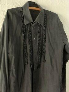 Mens Ted Baker frilled front black shirt Goth, Steampunk, formal wear