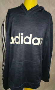 Adidas Letter Logo Dark Blue Hoodie With Pockets Youth Boys Sz Extra Large 18-20