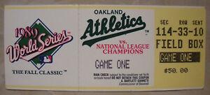 1989 Earthquake World Series Ticket Stub Game 1 Athletics Sweep Giants