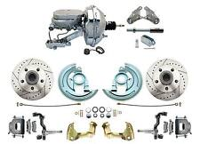 """1964-1972 GM A, F, X 9"""" Chrome Flat Top Master Drilled/ Slotted Disc Brake Kit"""