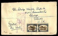 SOUTH AFRICA ROBERTS HEIGHTS NOVEMBER 21 1938 REGISTERED COVER PAIR TO CHICAGO I