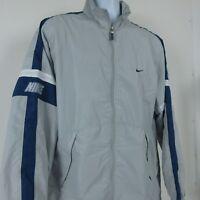 NIKE Script Logo Vintage Lined Athletic Windbreaker Jacket Sz L Gray Blue Stripe