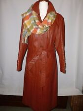 VINTAGE  REAL LEATHER TRENCH COAT FROM THE 1970,S FITS UK 12