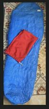 "VTG Gerry USA Northern Goose Down Mummy Sleeping Bag Blue 88"" with Stuff Bag"