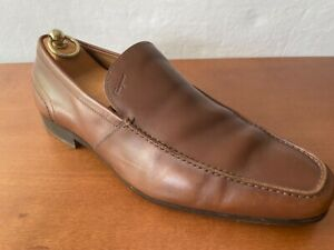 Pre Owned Salvatore Ferragamo Cuoio Brown Leather Slip On Loafers 9.5EE
