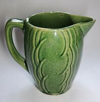 Antique Vintage Stoneware Pottery Small Green Pitcher 5 Inches Tall