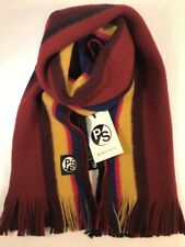 Paul Smith Men Scarf Reverse Stripe New Wood Made In Germany Red