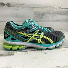 Women's Asics GT-1000 Running Shoes Gray Yellow Mint T4K8N Low Top Sz 9