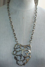 Medallion Necklace ~ Unsigned Large Silvertone Chain &