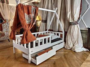 TIPI Hausbett | zwei Schubladen | Holzbett | BARRIEREN | Weiß FARBE | 7 Tage