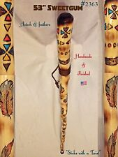 "53"" Sweetgum ~AZTECH & FEATHERS~ Walking Stick Handmade & Finished🇺🇸"
