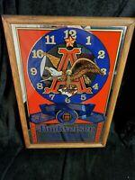 "BUDWEISER Clock Sign Mirror Mancave Beer sign advertising 19""x13"""