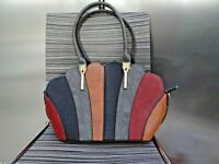 DESIGNER SHELL SHAPE FX Leather Grab Hand Bag UNUSED TOTE LARGE GREY BROWN RED