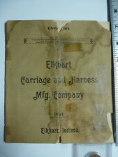 Elkhart Carriage & Harness Mfg. Company Pamphlet. Elkhart IN. 1894. AB112
