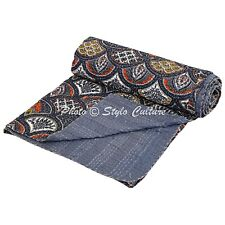 Indian Quilt Blanket Queen Cotton Printed Bed Cover Rainbow Kantha Quilts