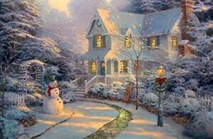 Large LED Fibre Optic Wall Picture/Canvas Christmas/Winter Snowman 60 x 40cm