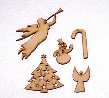 Pack of 5 Christmas tree embelishments about 100mm Wide or High from 3mm MDF ~01