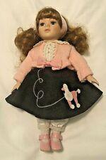 "Poodle Skirt 1950's Porcelain Face Doll Collector's Choice 10"" Brunette Pink"