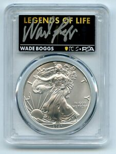2021 (P) $1 Silver Eagle Emergency T1 PCGS PSA MS70 Legends of Life Wade Boggs