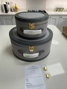 BundleBerry by Amanda Holden Set of 2 Vintage-Style Storage Suitcases Grey