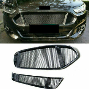 2pcs Carbon Fiber Front Upper&Lower Grilles Fit For 2013-2016 Ford Mondeo Fusion