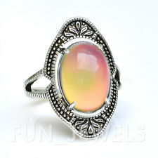 New Vintage Brass Oval Mood Ring Multi Color Change Stone retro Free Box & Chart