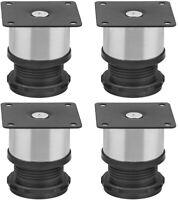 4/8x Furniture Cabinet Stainless Steel Legs Adjustable Kitchen Feet Round Black