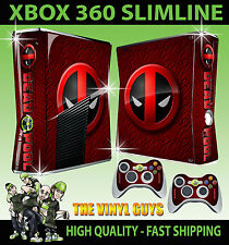 XBOX 360 SLIM STICKER DEADPOOL LOGO 002 MERC WITH A MOUTH SKIN & 2 PAD SKINS