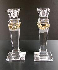 "VTG Crystal Candlesticks Candle Holder Bohemian Pillar Column w/Brass HEAVY 8.5"""