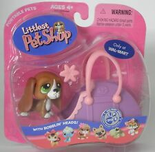 Littlest Pet Shop Walmart #312 green eyes beagle puppy dog with case new in pack