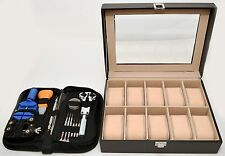 Black Faux-Leather 10-Count Watch Display Box + 12-Piece Repair Kit Windowed -A-