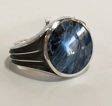 New DAVID YURMAN Men's 925 Knife Edge Pietersite Round Signet Ring Size 11 $550