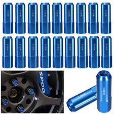 20PCS Azul 60MM Aluminio Extended Tuner LUG Tuercas para Wheels Rueda M12X1.5