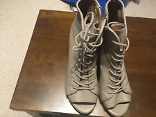 Steve Madden Neela Grey Leather Ankle Boots Heels Shoes Size 6B