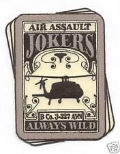 """B CO 3-227th AVN """"JOKERS ALWAYS WILD"""" #2 patch"""