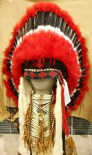 "Genuine Native American Navajo Indian Headdress 36"" COMANCHE Red Black White"