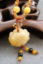 Yellow Jade Gemstone Flower Lotus Tibet Buddhist Amulet Pendant Talisman
