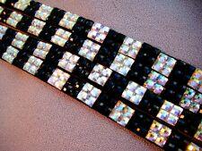 """Black & White-Iridescent Checkered Rhinestone ID Lanyard-RN Teacher Anyone 30"""""""
