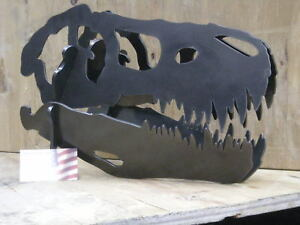 Dinosaur skull metal art. Heavy steel sculpture