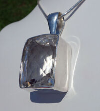 Sparkling CLEAR QUARTZ Multi Faceted Crystal .950 Professional SS Custom Pendant