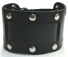 Wide Black Leather Watch Band With Flat Round Rivets Made in USA Buckle Closure