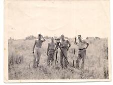 Four Men In Field Surveying Equipment Shirtless Young Man Vintage 1960s Photo
