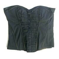 Bebe Black Sexy Ruched Poplin Corset Fitted Top Bustier Zipper Side Size S