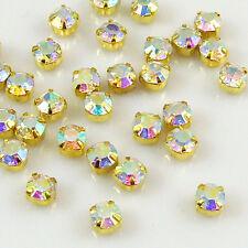 100x A-B color A++ Sew On Cut Glass Crystals Rhinestones Diamantes - Craft 4-6mm
