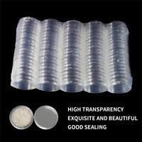 100pcs 40mm clair ronde en plastique Coin Capsule conteneur Boîte titulaire cas
