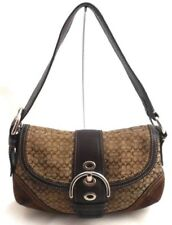 COACH PURSE SIGNATURE LOGO JACQUARD HOBO FLAP BROWN SUEDE SMALL SIZE G0793-10925