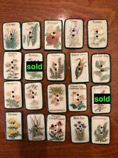 CHOICE OF (1)  ONE Verbal Vntg  Handpainted  Ceramic Button Idabelle,Seed Packet