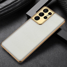 For Samsung Galaxy S21 Ultra Plus Luxury Leather Plating Bumper Soft Cover Case