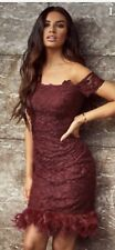 Brand New Gorgeous Lipsy Deep Red Lace Bardot Feather Hem Bodycon Dress  Size 10